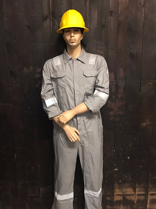 GREY NOMEX FR COVERALL REFLECTIVE TAPE FRONT VIEW