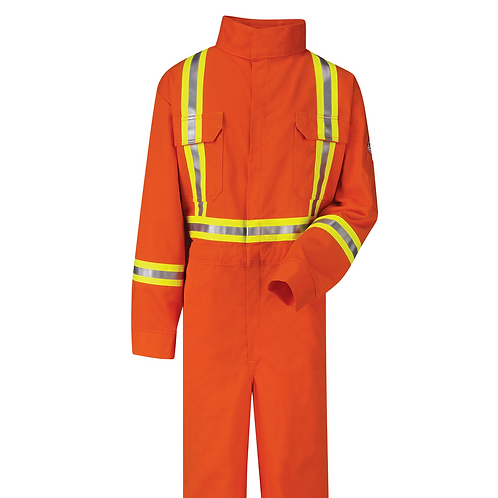 Bulwark Flame Resistant Orange Reflective Coverall CLBC