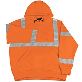 MADE IN USA Orange FR Pullover Hoodie with Silver Reflective Tape