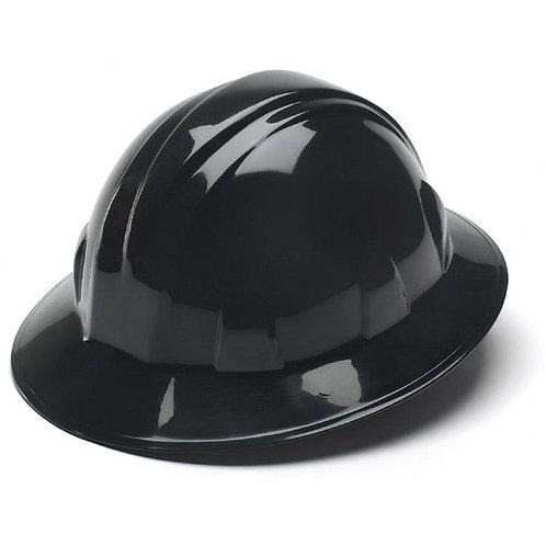 Pyramex Black Hard Hat 4 pt full brim hard hat