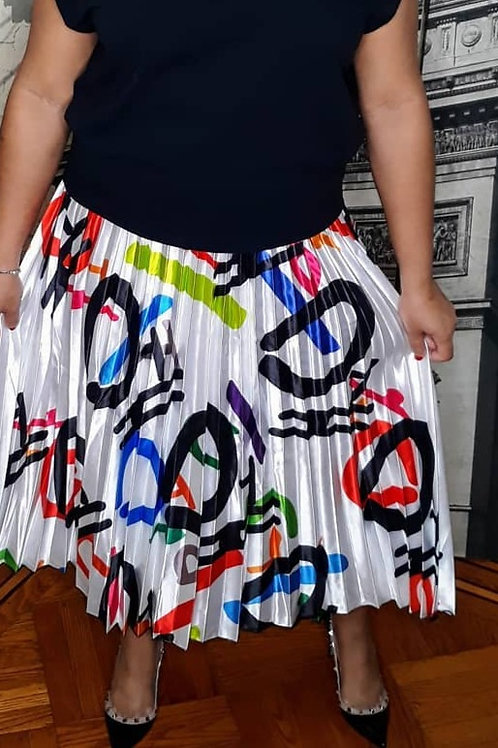 Satin Pleated Abstract Print High Waist Skirt