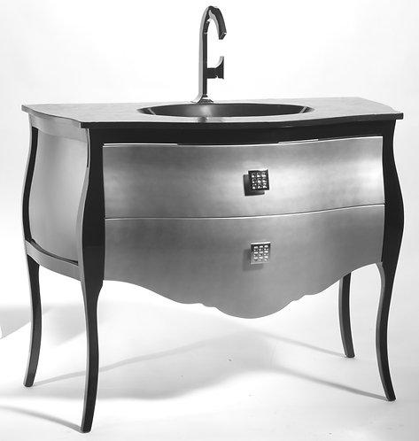 Meuble bas seul Noir & argent - 110 cm