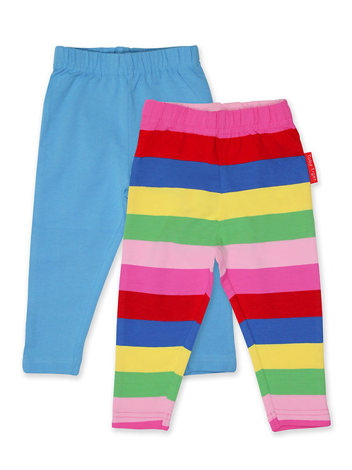 Toby Tiger Organic Blue Plain & Pink Rainbow Stripe Leggings 2-Pack