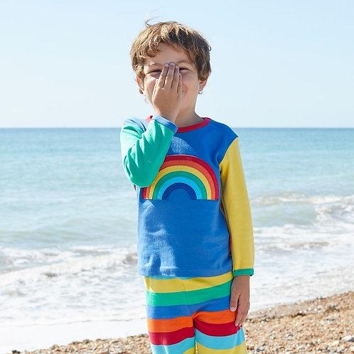 Toby Tiger Organic Rainbow Applique Long Sleeve T-Shirt