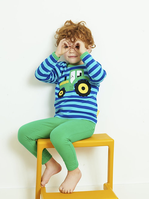 Toby Tiger Organic Blue Tractor Applique Long Sleeve T-shirt