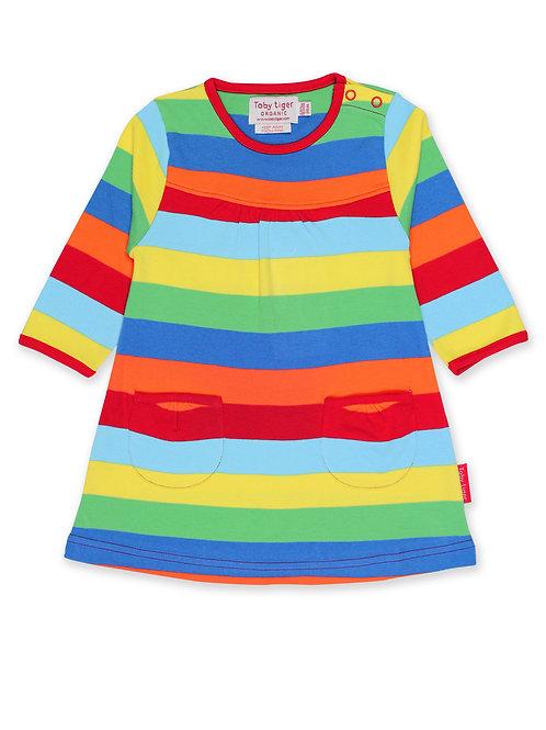 Toby Tiger Organic Rainbow Stripe Dress