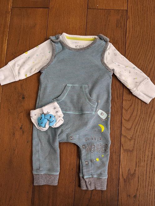 Mothercare Little Wonder Romper, Socks & Vest Set