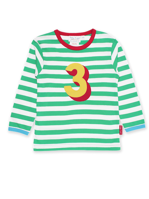 Toby Tiger Organic Number 3 Applique Long Sleeve T-Shirt