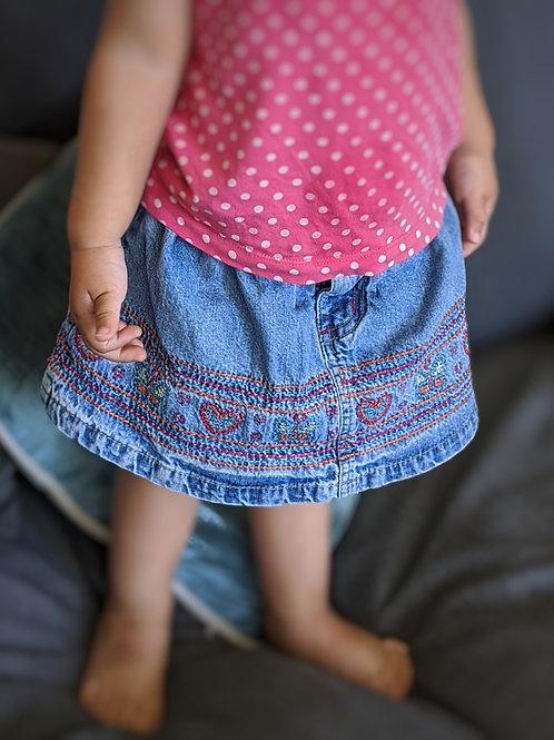 Pumpkin Patch Embroidered Denim Skirt