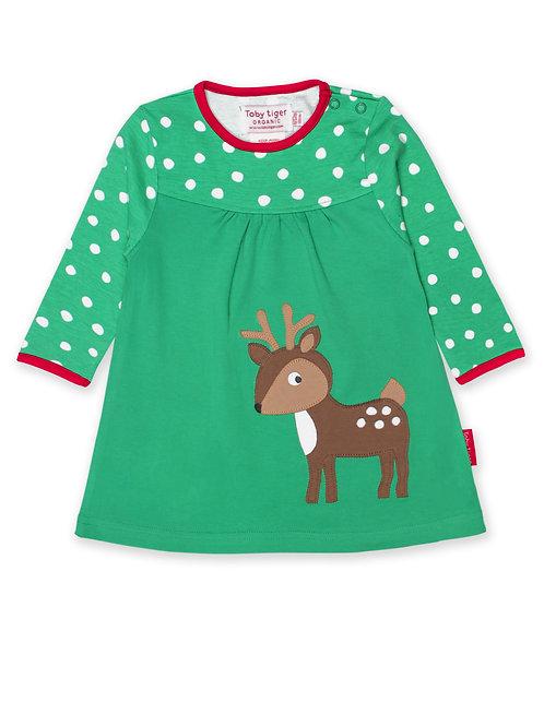 Toby Tiger Organic Green Deer Applique Dress