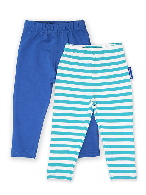 Toby Tiger Organic Blue Plain &  Stripe Leggings 2-Pack