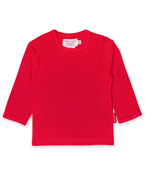 Toby Tiger Organic Vibrant Red Long Sleeve Basic T-Shirt