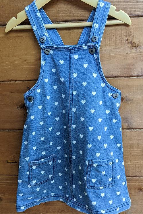 TU Stretch Denim Dungaree Heart Dress