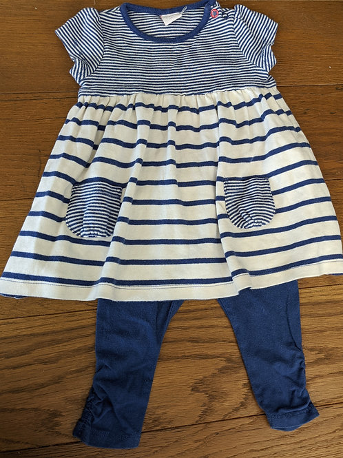 Mini Club Navy Stripes Dress & Leggings