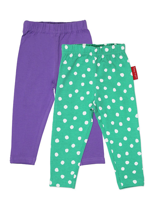 Toby Tiger Organic Green Dot Leggings 2-Pack