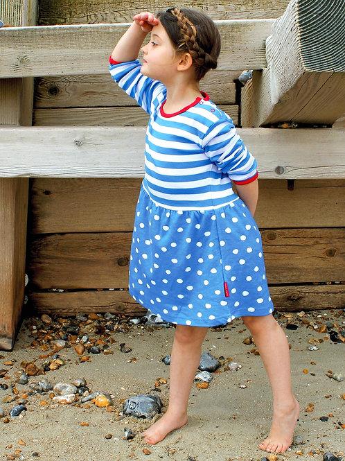 Toby Tiger Organic Blue Dot Twirl Dress