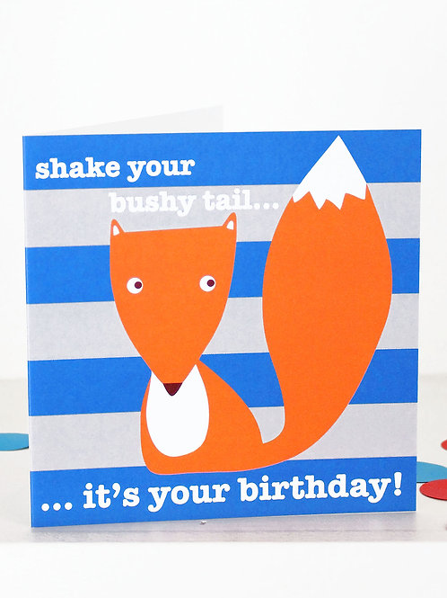 Toby Tiger Mr Fox Birthday Card