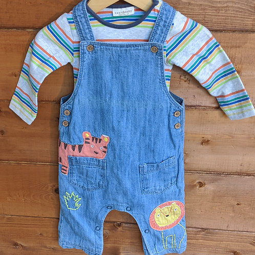 Next Applique Big Cat Dungarees