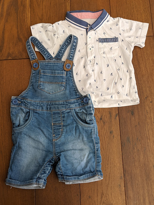 Matalan Short Dungaree & Polo Set