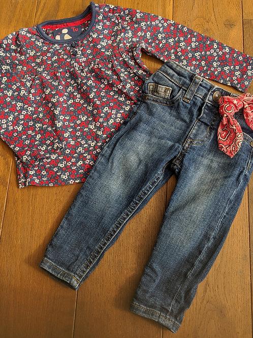 TU Floral top & River Island Jeans Set