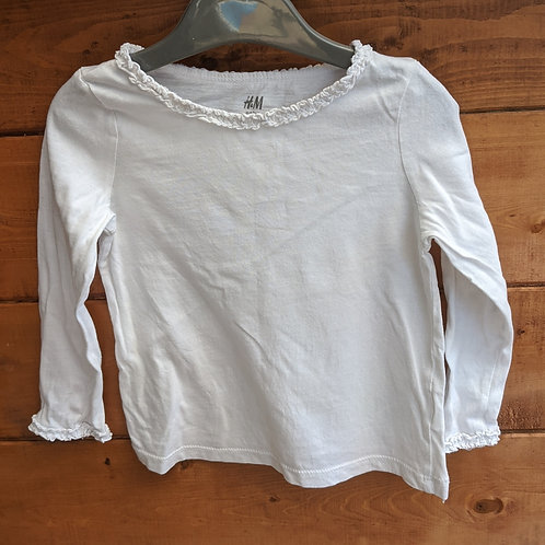 H&M Organic Cotton Frill Neck Top