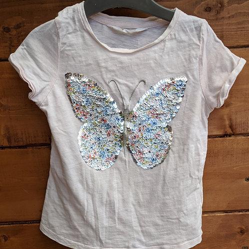 H&M Sequin Butterfly T-Shirt