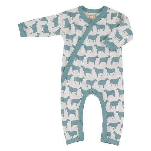 Kimono Romper, Turquoise Sheep Print