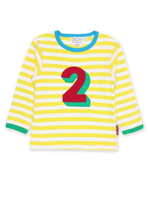 Toby Tiger Organic Number 2 Applique Long Sleeve T-Shirt