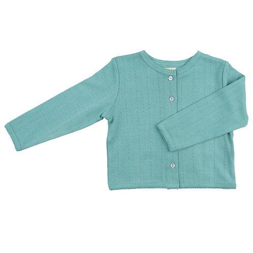 Pointelle cardigan, turquoise