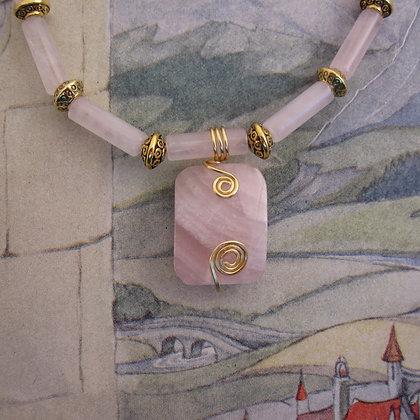 Rose Quartz Necklace, Gold Plated