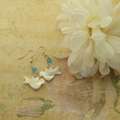 Peace Dove Gemstone Earrings - Blue Quartz