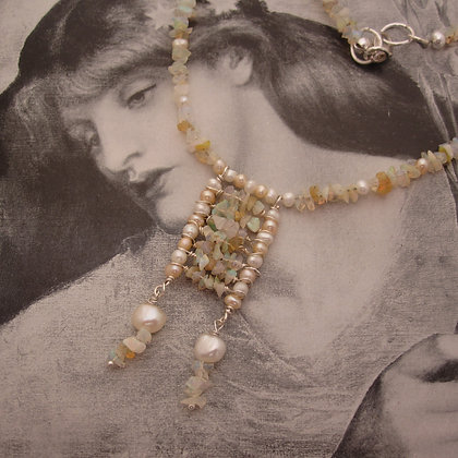 Opal and Pearl Shoreline Necklace