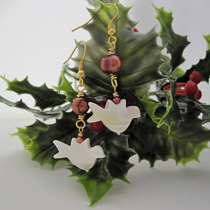 Peace Dove Gemstone Earrings - Cranberry Pearls
