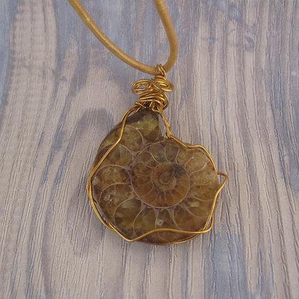 Fossil Pendant, Honey Tones, Gold Cord