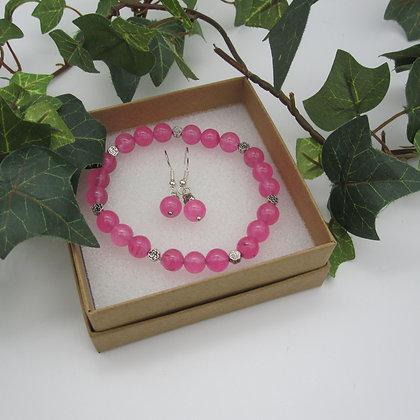 Pink Quartz, Gift Set, Bracelet and Earrings