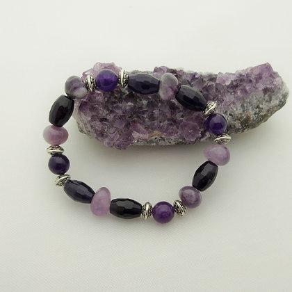 Gemstone Bracelet, Amethyst and Purple Quartzite