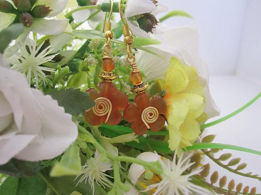 Agate Orange Flower Earrings landscape 2