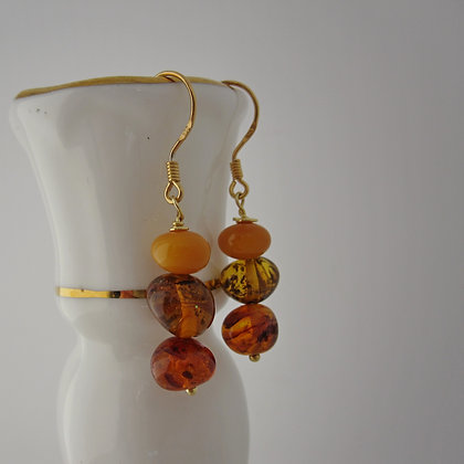 Amber Earrings with gold plated 925 sterling silver