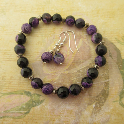 Gemstone Gift Set - Earrings and Bracelet, Purple and Black Agate