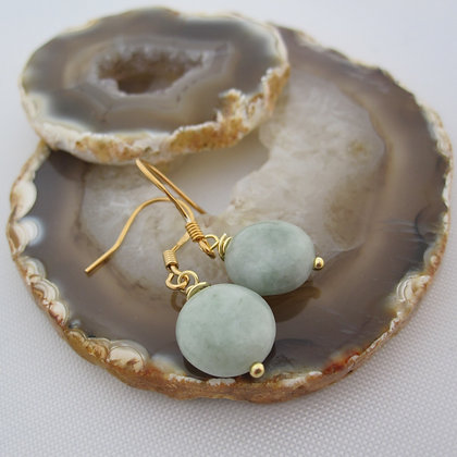 Jadeite Earrings,Gold Plated 925 Sterling Silver, Gift Boxed
