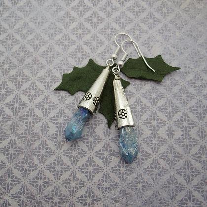 Frozen Earrings, Blue Quartz, Silver Plated