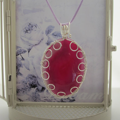 Pink Agate, Statement Pendant, Gift for Her