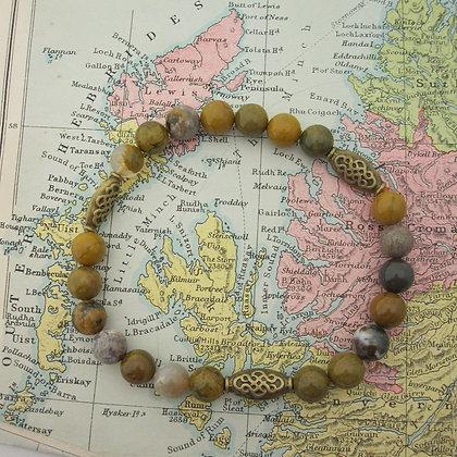 Gemstone Bracelet, Celtic Style, Jasper