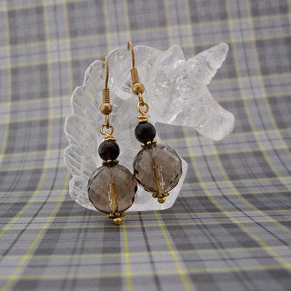 Smokey Quartz, Gold Plated, Drop Earrings