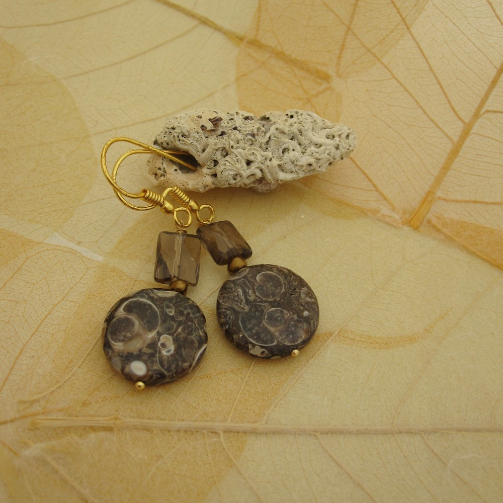 Turritella Agate and Smokey Quartz Earrings by Indigo Berry