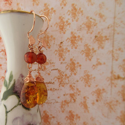 Amber Earrings, Rose Gold Plated, made in Scotland