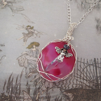 Fairy Pendant, Pink Agate, One of a Kind, Gift for Her