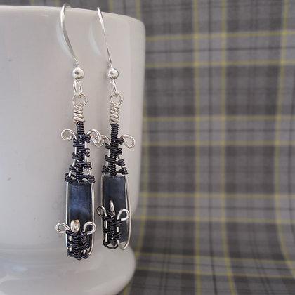 Blue Gemstone Earrings, Silver Plated