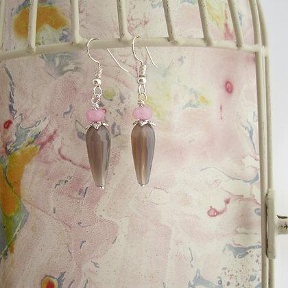 Pink and Grey Gemstone Earrings