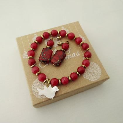 Gemstone Gift Set - Earrings and Bracelet Red Quartz and Jasper